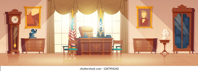 White House oval cabinet interior cartoon vector with vintage work desk and furniture, national flag, paintings on wall illustration. United States of America President workplace in official residence