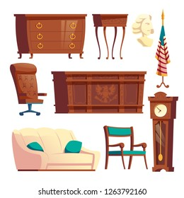 White house oval office wooden furniture cartoon vector set isolated on white background. United States Presidents residence workplace, official cabinet interior vintage design elements collection
