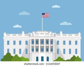 White house vector flat illustration. Washington DC. CAPITOL