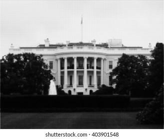 White House. Washington DC. Halftone
