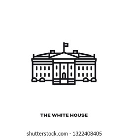 White House at Washington DC, United States, vector line icon. International landmark  symbol.