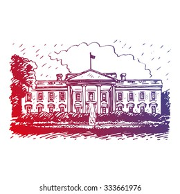 The White House, Washington DC, United States. Vector hand drawn sketch.