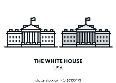 The White House. Washington USA Government Building Landmark Sight. Vector Flat Line Icon Illustration.