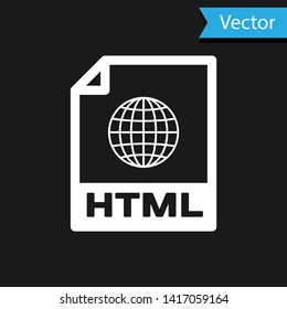 White HTML file document icon. Download html button icon isolated on black background. HTML file symbol. Markup language symbol. Vector Illustration