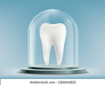 White human tooth under the glass dome. Stock vector illustration.