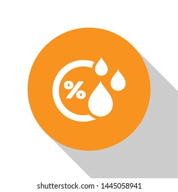 White Humidity icon isolated on white background. Weather and meteorology, thermometer symbol. Orange circle button. Vector Illustration