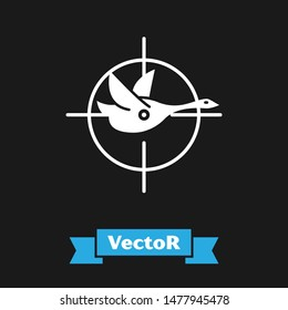 White Hunt on duck with crosshairs icon isolated on black background. Hunting club logo with duck and target. Rifle lens aiming a duck.  Vector Illustration