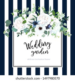 White hydrangea, anemone, thistle, black berry, rose flowers on navy blue and white striped background vector design frame. Trendy rustic wedding greenery. Elegant classic style. Isolated and editable