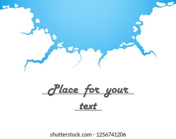White ice, cracks, blue water. The Destruction, The Abyss. Vector illustration with space for your text.