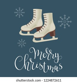 White ice skates with snowflakes. Merry Christmas hand lettering. Vector illustration