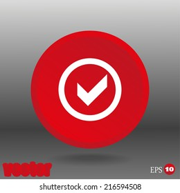 White icon on the red button
