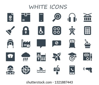 white icon set. 30 filled white icons.  Collection Of - d, Package, Smartphone, Information, Headphones, Drum, Plunger, Padlock, Wheelchairs, Stove, Wingsuit, Calculator, Coif