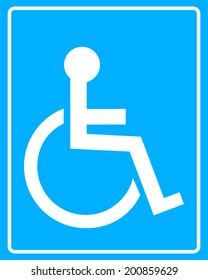 white icon wheelchair blue background in frame