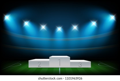 White illuminated sport podium. Soccer arena illuminated with spot lights