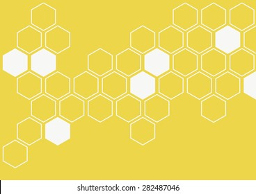 white illustration of hexagon pattern is abstract pattern arranged of hexagon from shape of beehive and honeycomb on yellow background