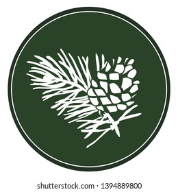 White image of a pine on a dark green background. Druid tree. Celtic plant calendar. White logo of Scots pine in a circle. Vector plant element for natural patterns
