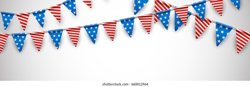 White Independence Day banner with American flags. Vector illustration.