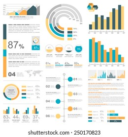 White infographics set with blue, yellow and orange elements. Vector information graphics