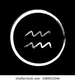 White ink Aquarius zodiac sign, hand painted horoscope symbol vector. Astrological icon isolated. Aquarius astrology zodiac symbol clip art on black background.