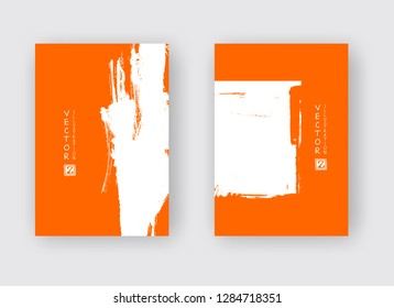 White ink brush stroke on orange background. Japanese style. Vector illustration of grunge abstract stains.