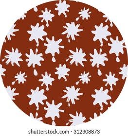 White Ink Spots on Brown Background Seamless Pattern