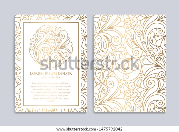 White Invitation Card Golden Abstract Ornament Stock Image