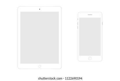 White iphone smartphone and white ipad tablet with grey screen on white background. Smartphone iphone eps10 vector. Tablet eps10 vector. Iphone and Ipad set.