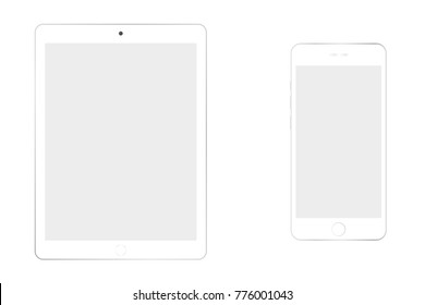 White iphone smartphone and ipad tablet eps10. White tablet and smartphone grey screen on white background. smartphone and tablet with empty screen vector eps10.