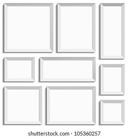 White isolated empty frames in international paper size in vector format