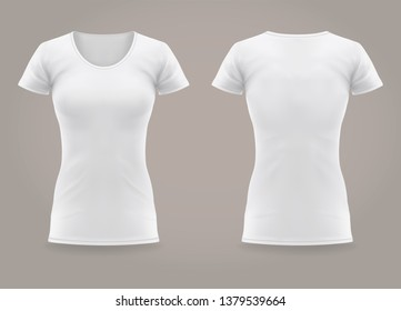 White isolated front and back view on women t-shirt. 3d or realistic woman t shirt with u-neck. Blank wear or clear, empty apparel for mockup. Background or template for clothing print. Female fashion