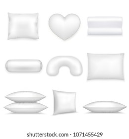 White isolated pillows realistic icon set different shapes and sizes on white background vector illustration