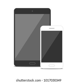 White isolated smartphone and black tablet vector flat mockup on white background