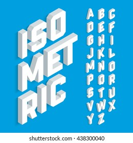 White isometric 3d font, Three-dimensional alphabet. Vector illustration.
