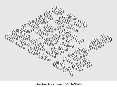 White isometric font alphabet in thin line style