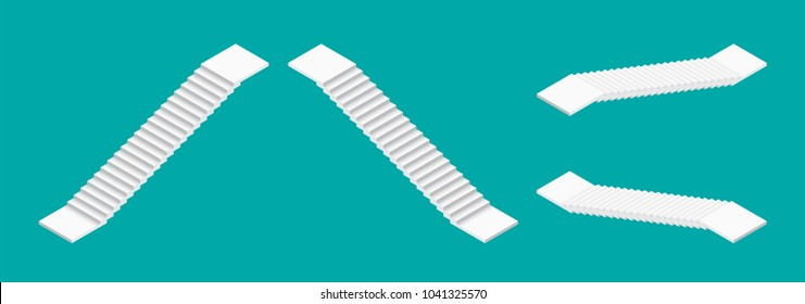White isometric stairs set. Isolated vector illustration