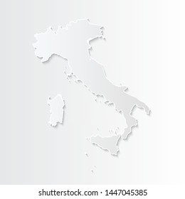 White Italy map-countries. Vector paper map of Italy on a gray background. Vector illustration.