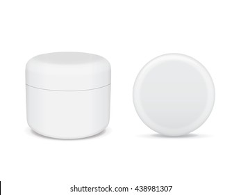 white jar of hand cream or gel with a silver stripe for your design Mock Up Vector EPS10