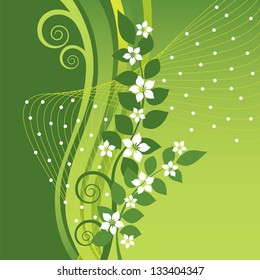 White Jasmine flowers on green swirls and waves background. This image is an illustration.