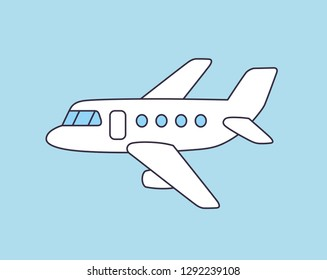 White jet airplane line icon