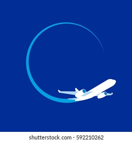 White jet airplane at navy blue background. Flat vector clip art. Poster or logo template - plain in the sky. With place for text.