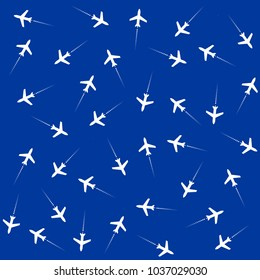 White jet airplanes at navy blue background. Flat vector clip art. Seamless pattern, transportation background.