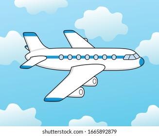 White jet passenger airplane airliner in blue sky cartoon vector illustration