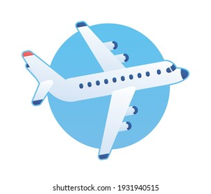 White jet passenger airplane flying up in a blue sky flat vector icon
