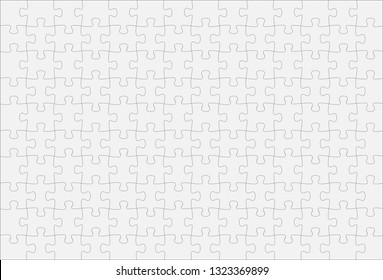 White Jigsaw Puzzle 10 x 14 Pieces frame background, Vector Illustration