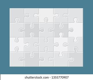White jigsaw puzzle. Blank simple editable symbolic background.