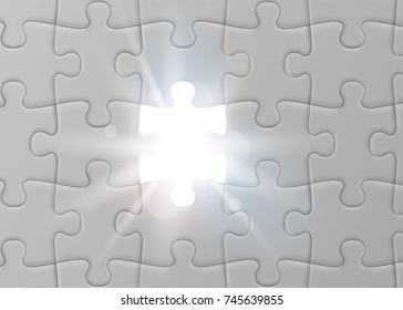 White jigsaw puzzle with missed and shining piece. Solution concept. Vector illustration
