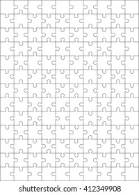 White jigsaw puzzle pattern as a background. Vector illustration EPS 10.