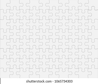 White Jigsaw Puzzles 80 Pieces Vector Illustration