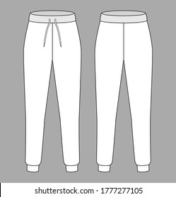 White Jogging Pants Vector For Template.Front And Back Views.