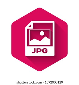White JPG file document icon. Download image button icon isolated with long shadow. JPG file symbol. Pink hexagon button. Vector Illustration